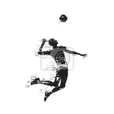 Volleyball player serving ball, abstract isolated vector silhouette, side view