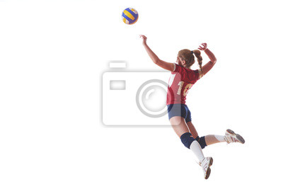 Naklejka volleyball woman jump and kick ball isolated on white background