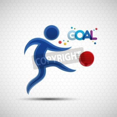 W piłce nożnej transparentu. Piłkarz kopie piłkę. Ilustracji wektorowych abstrakcyjne piłkarz sylwetka do projektowania