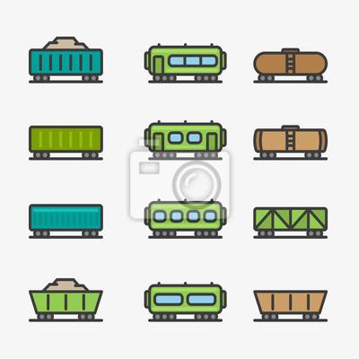 Wagony Wagon Pociąg Kontener Minimalistyczny Kolor Płaskiej Linii Ikona Piktogram Wektorowy