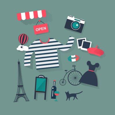 Naklejka Wakacje i urlop płaskim wektorowe ikony mody i francuski bist