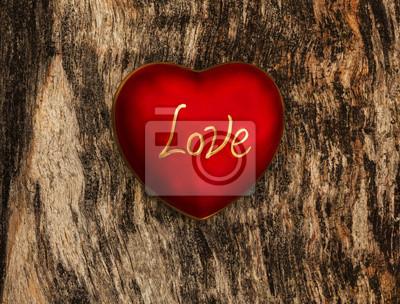 Walentynki serce miłość na tle drewniane