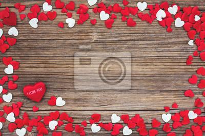 Walentynki tła z białych i czerwonych serc. Stonowanych, miękki