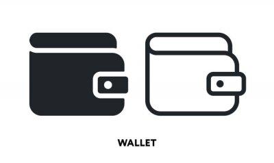 Wallet Purse Money Keeper. Vector Flat Line Icon Illustration.