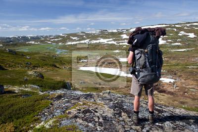 Wanderer in der Hardangervidda, Norwegen