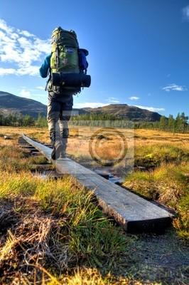 Wanderer mit Plecak auf dem Weg durch Moorlandschaft