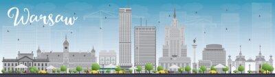 Naklejka Warszawa skyline z szarymi budynkami i błękitne niebo. Niektóre elementy mają tryb przezroczystości odmienny od normalnego
