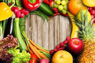 Naklejka Warzywa i owoce w kształcie serca