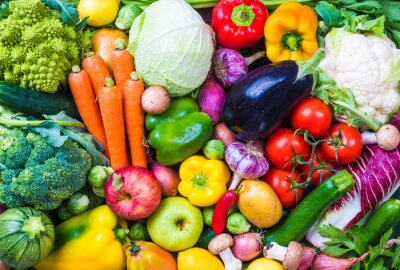 Naklejka Warzywa i owoce w tle.