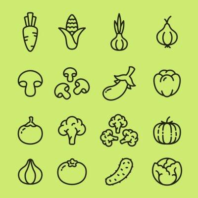 Warzywa organiczne wegetariańskie żywności Kolekcja ikon liniowych. Marchew, kukurydza, czosnek, cebula, grzyby, papryka, brokuły, dynia, ogórek, kapusta.