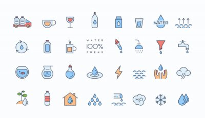 Water icon set. Included icons as water drop, water bottle, water tap and more