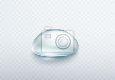 Water rain drop isolated on transparent background. Realistic pure droplet. Vector blue clear bubble or dew template.