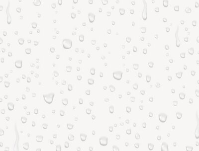 Water rain drops or steam shower texture isolated on white background. Vector pure droplets on window glass surface pattern