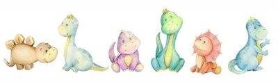 Naklejka watercolo,  little dinosaur. isolated set