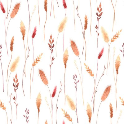 Watercolor abstract wildflowers, tender fleurs séchées, seamless floral pattern with colorful plants. Illustration on white background in vintage style.