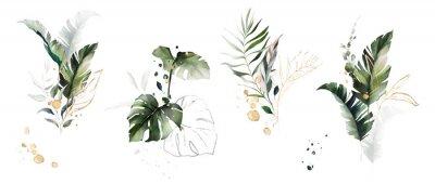 Naklejka  watercolor and gold leaves. herbal illustration. Botanic tropic composition.  Exotic modern design
