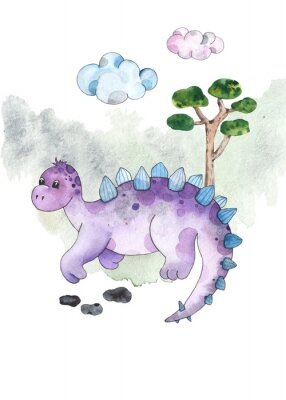 Naklejka Watercolor and graphic dinosaurs pre-made cards with Brachiosaurus, Stegosaurus on white background with watercolor shapes