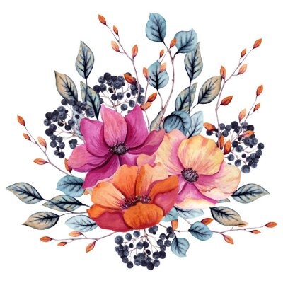 Naklejka Watercolor Autumn Floral Composition with Pink and Red Flowers