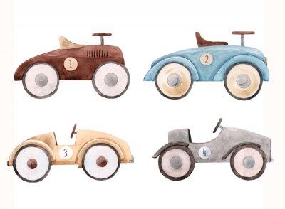 Naklejka Watercolor baby car illustration