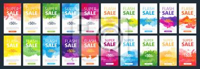 Naklejka Watercolor background sale mobile banners design template set for social media marketing