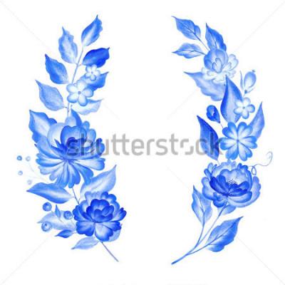 Naklejka Watercolor blue flowers  in gzhel style.Floral background.