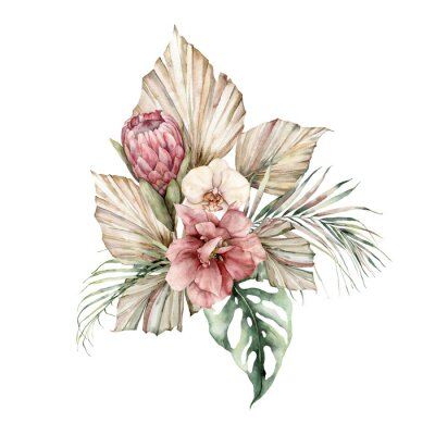 Watercolor bouquet with Protea, Orchid and hibiscus. Hand painted flowers, coconuts and monstera leaves. Floral illustration isolated on white background for design, print. Summer template.