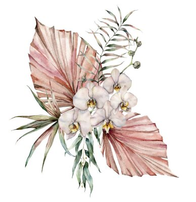 Watercolor bouquet with white orchid and eucalyptus. Hand painted tropical card with flowers, branches and leaves isolated on white background. Floral illustration for design, print or background.