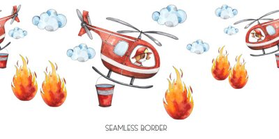 Naklejka Watercolor cartoon cute seamless border Firefighting and fire safety equipment illustration. Fire helicopter, dog, helmet, hose, column, fire extinguisher. Baby shower red colorful clip art