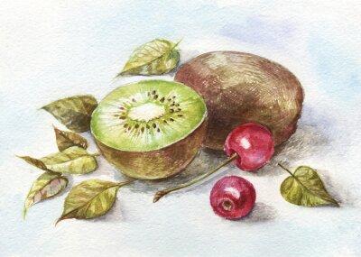 Naklejka watercolor cherry and kiwi