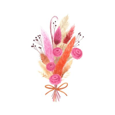 Watercolor colorful beauquet with dry plants, flowers, branches and bow. Floral isolated illustration on white background for greeting card, emblem thank you or decorative poster.