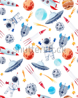 Naklejka Watercolor cutepattern  space illustrations , the man in the spacesuit of an astronaut, rocket, shooting star, flying saucer