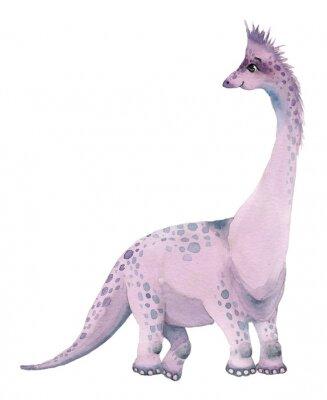 Naklejka Watercolor dinosaurs brontosaurus