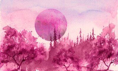 Naklejka Watercolor drawing, illustration. Forest landscape, fir, pine, tree, cedar, red, pink sun, sunset, sunrise. Splash paint, abstract illustration. Art painting. Winter landscape. Mystic forest