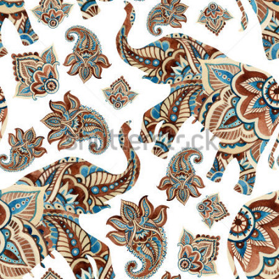 Naklejka Watercolor ethnic elephant with paisley elements background. Abstract indian seamless pattern with paisley ornament on white background. Hand painted illustration for boho, tribal design