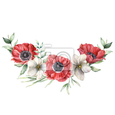 Watercolor floral bouquet with red and white anemones. Hand painted holiday flowers and eucalyptus leaves isolated on white background. Spring illustration for design, print, fabric or background.