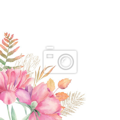Watercolor floral card with autumn leaves, gold glitter elements and peonies. Hand drawn summer illustration. Wedding border