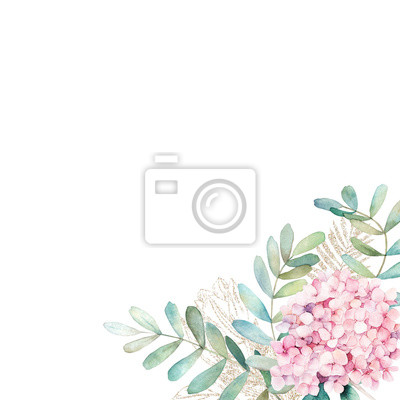 Watercolor floral card with eucalyptus branchs and pink hydrangea. Hand drawn illustration. Wedding frame