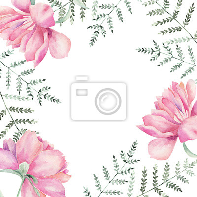 Watercolor floral frame for wedding cards, invitations, Easter, birthday. Spring botanical illustration. Peony and fern branch