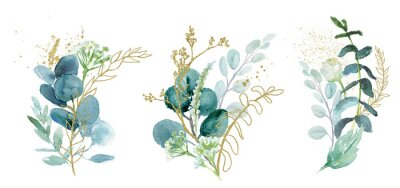 Naklejka Watercolor floral illustration set - green & gold leaf branches collection, for wedding stationary, greetings, wallpapers, fashion, background. Eucalyptus, olive, green leaves, etc.