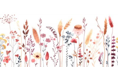 Naklejka Watercolor floral seamless pattern with colorful wildflowers, plants and grass. Panoramic horizontal border, isolated illustration. Meadow in vintage style.