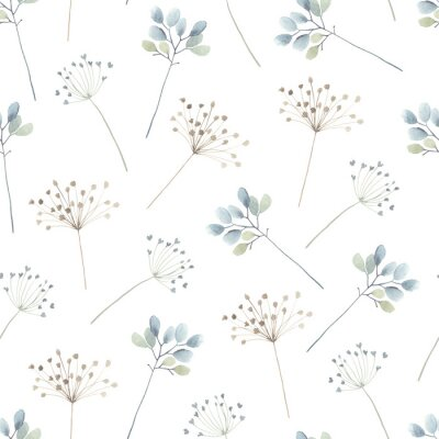 Watercolor floral seamless pattern with scattered abstract plants.  Airy, light and flying ornament on white background for textile, wallpaper or paper.