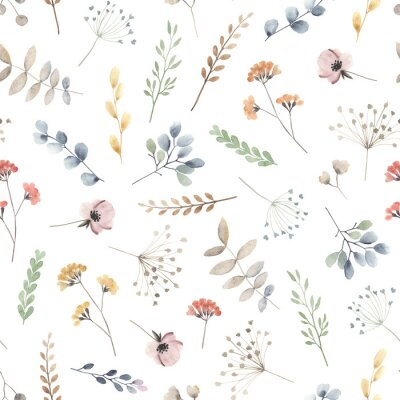 Watercolor floral seamless pattern with scattered wildflowers, leaves and plants. Summer illustration in vintage style on white background.