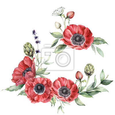 Watercolor floral set with anemones. Hand painted flowers, lavender, artichoke, buds and leaves isolated on a white background. Spring illustration for design, print, fabric or background.