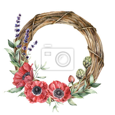 Watercolor floral wreath with anemones. Hand painted flowers, lavender, artichoke, buds and leaves isolated on white background. Spring illustration for design, print, fabric or background.