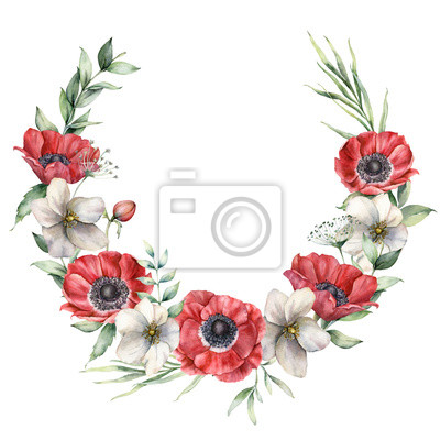 Watercolor floral wreath with red and white anemones. Hand painted holiday flowers, buds and eucalyptus leaves isolated on white background. Spring illustration for design, print, fabric, background.