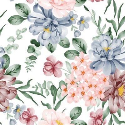 Naklejka watercolor flower and leaves seamless pattern