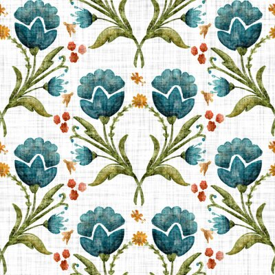 Naklejka Watercolor flower motif background. Hand painted earthy whimsical seamless pattern. Modern floral linen textile for spring summer home decor. Decorative scandi style colorful nature all over print