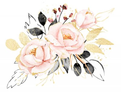 Naklejka Watercolor flowers, floral bouquet with gold gray leaves and blush pink peonies. Perfectly for print on greeting card, wedding invitation, poster. Hand drawing. Composition isolated on white.