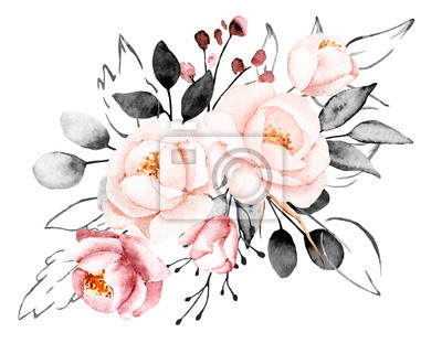 Watercolor flowers, floral gray and pink bouquet. Perfectly for print on greeting card, banner, wedding invitation, poster, web design. Hand drawing summer illustration. Composition isolated on white.