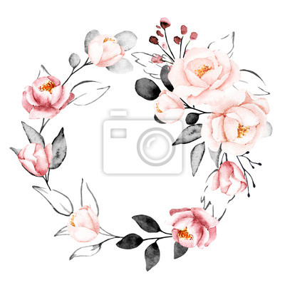 Watercolor flowers, floral gray and pink wreath. Frame for print on greeting card, banner, wedding invitation, poster, web design. Hand drawing summer illustration. Composition isolated on white.